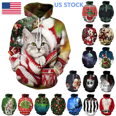 Men Christmas 3D Graphic Printed Hoodie Sweatshirt Jumper Sweater Pullover Tops