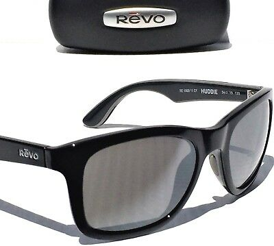 1536b40bd3c NEW  REVO HUDDIE BLACK polished frame w POLARIZED GREY Lens Sunglass 1000  11 GY