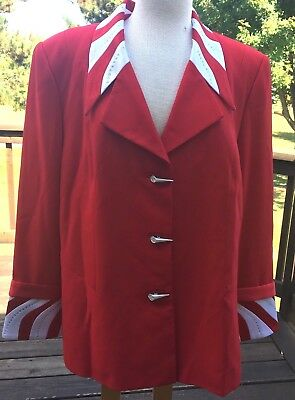 Vtg 90s  Moshita Women Blazer Jacket Sz 18 Red Stripe Bows Sequin Pad Halloween