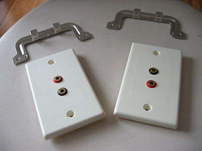2x New AVICO Speaker Banana Connector Scoket Terminal Outlet Wall Plate NEW