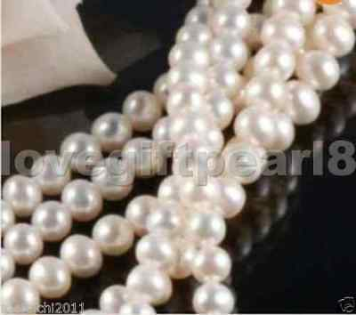 "1 Strands 7-8MM Real Natural White freshwater Cultured  Pearl Loose Beads 15"" AA"
