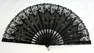 Pretty Antique Black Chantilly Lace Carved Ebony ? Hand Fan Victorian Sequins