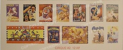 AUTOCOLLANTS Ho CIRQUE #2 (12) AFFICHES (FRATELLINI,KNIE, PINDER & divers)