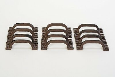 "Lot/Set of 12 Rust Rustic New 3.5"" Cast Iron Small DRAWER PULL Handle Cupboard"