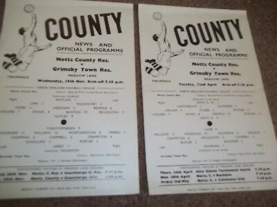 Notts County V Grimsby Town Reserves Collection 1968/9 & 1969/70 X 2 S/s