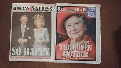 2 x Original Newspapers Queen Mother Death & Charles and Camilla's Wedding