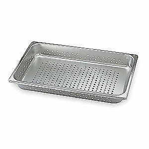 VOLLRATH Stainless Steel Perforated Pan,Full-Size, 21 Qt., 30063