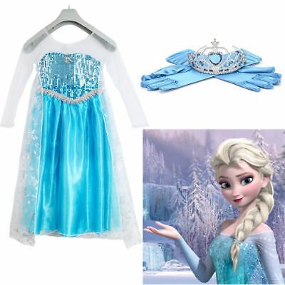 Mädchen Prinzessin Elsa Perlen Kleid Cosplay Kostüm Party Dress Eiskönigin