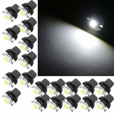 20PCS Xenon White T5 B8.5D 5050 1SMD LED Bulbs Dashboard Panel Side Light Lamps