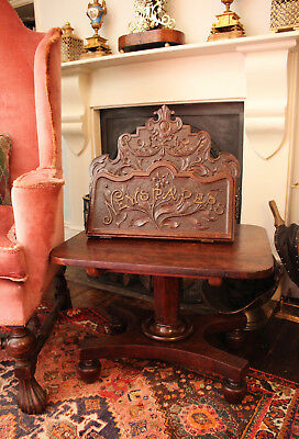 A Solid Oak Antique c19th Edwardian Country House Newspaper Magazine Rack