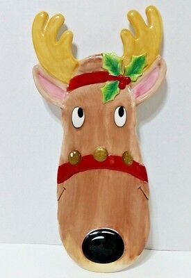 """1 Fitz & Floyd Rudolph Serving Tray - Snack Therapy -14"""" x 4 1/2""""- Hand Painted"""