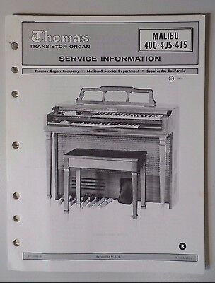 Original Thomas Organ Service Information Malibu 400-405-415