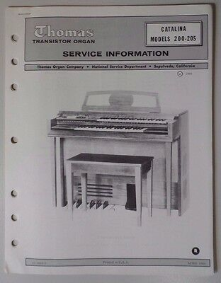 Original Thomas Organ Service Information Catalina 200-205