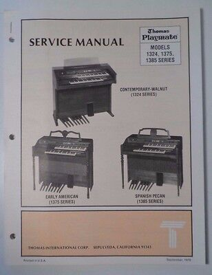 Original Thomas Organ Service Manual Playmate 1324, 1375, 1385
