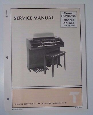 Original Thomas Organ Service Manual Playmate A-A1335-0 A-A1335-9