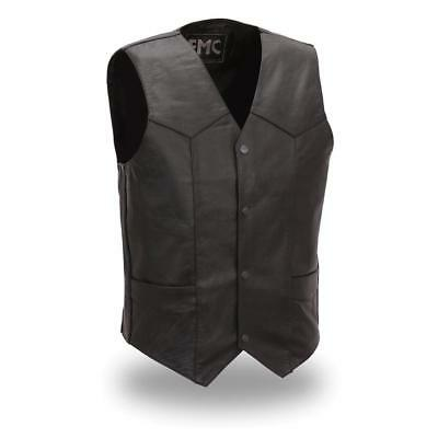 First Mfg Mens Top Shot Leather Motorcycle Vest Black S-5XL - Free Shipping