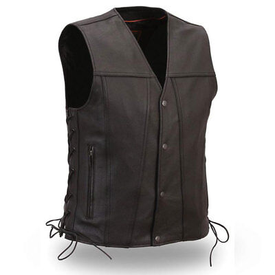First Mfg Mens Gambler Leather Motorcycle Vest Black S-5XL - Free Shipping