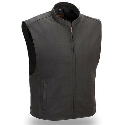 First Mfg Mens Club House Leather Motorcycle Vest Black S-5XL - Free Shipping