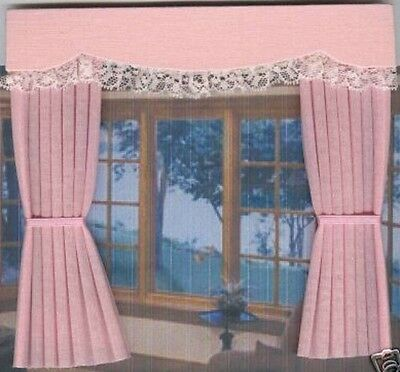 Dolls House Curtains Baby Pink  Outside Bay - French Doors