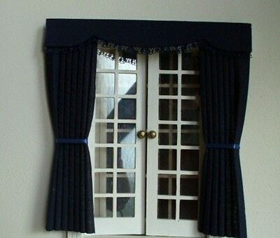 Dolls House Curtains Navy Blue Outside Bay - French Doors