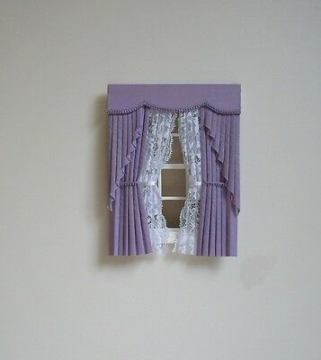 Dollshouse Curtains Lilac  Swag With Tied Nets
