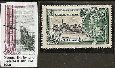 "Cayman 1935 Silver Jubilee Variety ""diagonal  Line By Turret"" Sg108F"