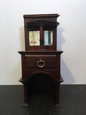 Vintage Miniature Wall Hanging Dresser With Mirror & Drawer - 55 X 22 X 24cm