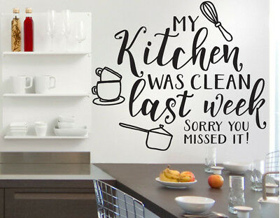 Kitchen Was Clean Funny Quote Wall Stickers Art Dining Room Removable Decals Diy