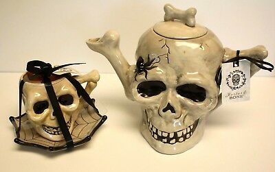 Blue Sky Clayworks Halloween Skull Teapot Teacup Mortar & Bone Heather Goldminc