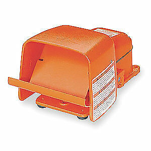 LINEMASTER Cast Iron Heavy Duty Foot Switch,Momentary Action, 511-BG, Orange