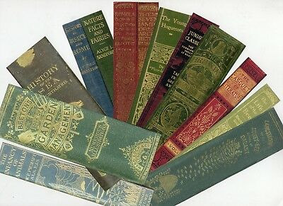 Antique Book Spines Bookmarks Set of 11 Hand made in Australia