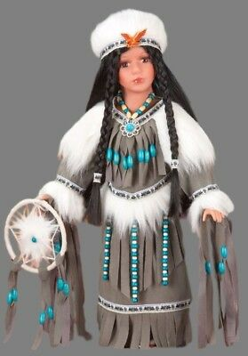 Native American Porcelain Doll Beaded Dreamcatcher Certificate of Authenticity