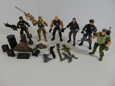 Military Army Action Figure Set 3.75 Inch with Weapons & Accessories LOT OF 6