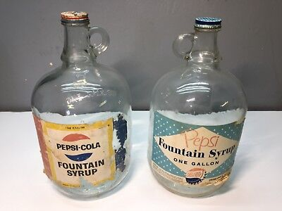 Lot of 2 Vintage Pepsi Fountain Syrup 1 Gallon Jugs