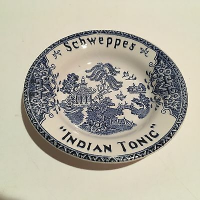 Rare Schweppes Indian Tonic Blue Willow Style Tip Plate Luneville Lorrain France
