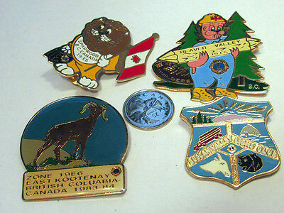 Lion's Club LOT  Pins -MD District 19 BC Kootenay Sparwood Beaver Valley Slocan