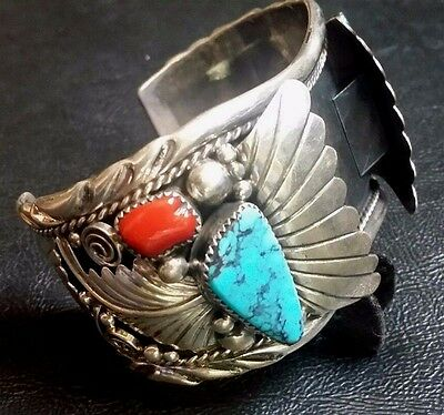 Vintage Navajo Turquoise, Coral, Sterling Watch Cuff Signed by Annie Cowboy 87g