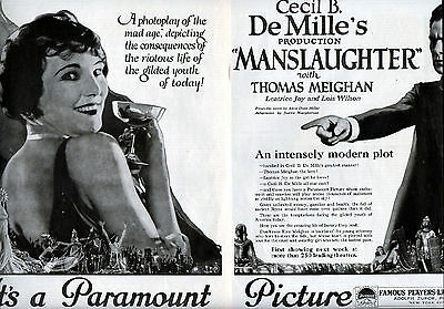 "1922 Paramount Pic's Original 2 Page ad-""Manslaughter""-Demille-Mad Age---v1233"