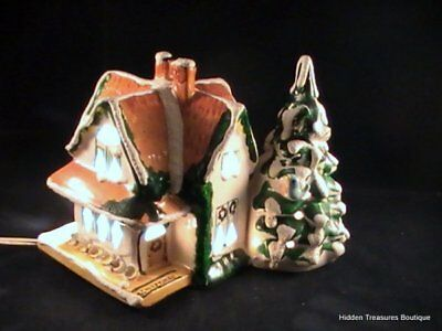 Rare Dept 56 Original Snow Village Lighted Cottage House Tree Gold Roof/Welcome