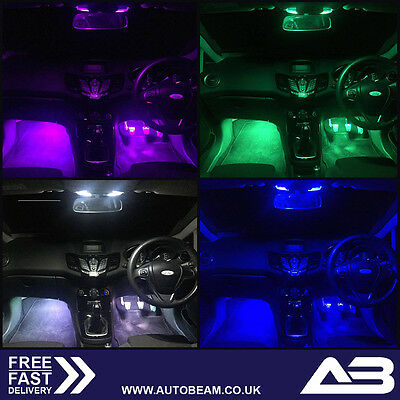 Ford Fiesta FOOTWELL LED Bulb Upgrade WHITE RED BLUE YELLOW GREEN PINK MK7 ST ZS