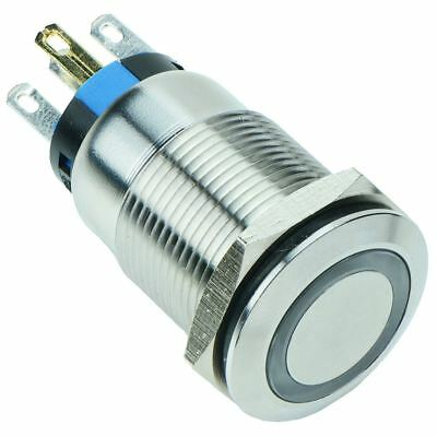 Momentary Latching 19mm Vandal Resistant Metal 12V LED Push Button Switch IP67