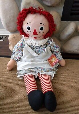 "Vtg 1970's Raggedy Ann Doll with Tag GIANT 35"" Tall by Knickerbocker"