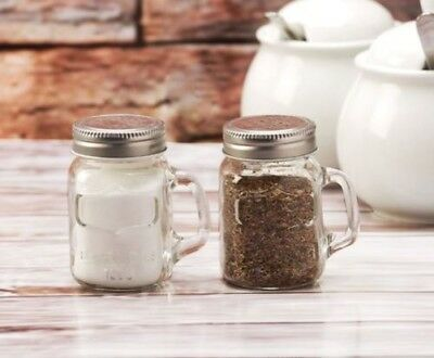 Circleware Glass Mason Jar Salt and Pepper Shakers: Silver, Red, Green or Blue