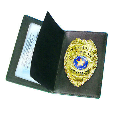Concealed Carry Badge & Leather Wallet By Peace Keeper - Authentic Quality Badge