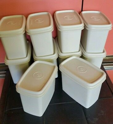 10 Tupperware Beige Containers Lids Storage Pantry Stacking Vintage Retro