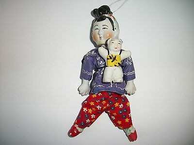 Vintage Chinese Asian Bisque Doll ~ Mother carrying Anatomically Correct Baby #2