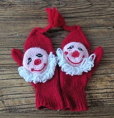 NOS Vintage 50s 60s Red Hand Knit Childrens Santa Claus Mittens Christmas Retro