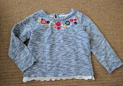 Baby Gap 3 Years Boxy Sweatshirt French Terry Top Heathered Embroidered Flowers