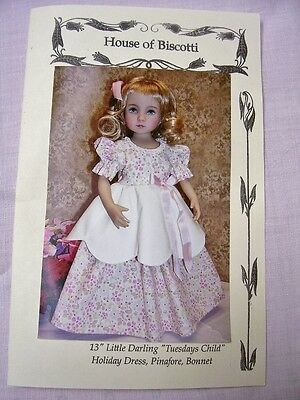 "13"" Effner Little Darling ""Tuesdays Child"" Pattern  Pinafore, Dress, Hat"