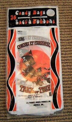 Vtg NOS 1970's NIP French Halloween Trick or Treat Bags 36 pc Witch Black Cat